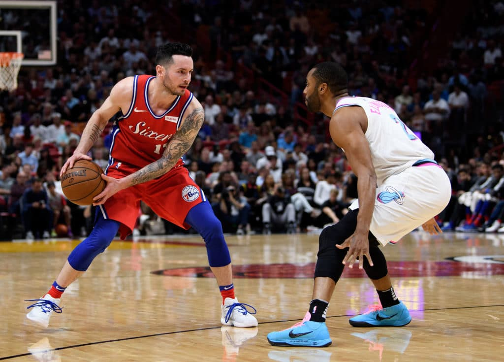MIAMI, FL - MARCH 08: JJ Redick #17 of the Philadelphia 76ers is defended by Wayne Ellington #2 of the Miami Heat during the second half of the game at American Airlines Arena on March 8, 2018 in Miami, Florida. NOTE TO USER: User expressly acknowledges and agrees that, by downloading and or using this photograph, User is consenting to the terms and conditions of the Getty Images License Agreement. (Photo by Rob Foldy/Getty Images)