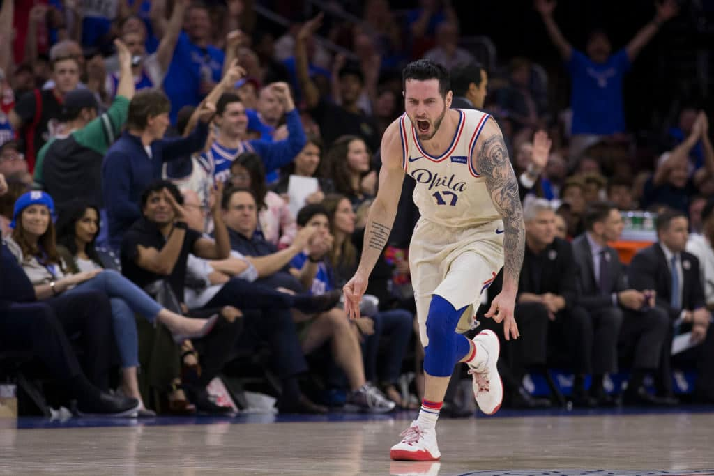 PHILADELPHIA, PA - APRIL 14: JJ Redick #17 of the Philadelphia 76ers reacts after making a three point basket in the fourth quarter against the Miami Heat during Game One of the first round of the 2018 NBA Playoff at Wells Fargo Center on April 14, 2018 in Philadelphia, Pennsylvania. The 76ers defeated the Heat 130-103. NOTE TO USER: User expressly acknowledges and agrees that, by downloading and or using this photograph, User is consenting to the terms and conditions of the Getty Images License Agreement. (Photo by Mitchell Leff/Getty Images)