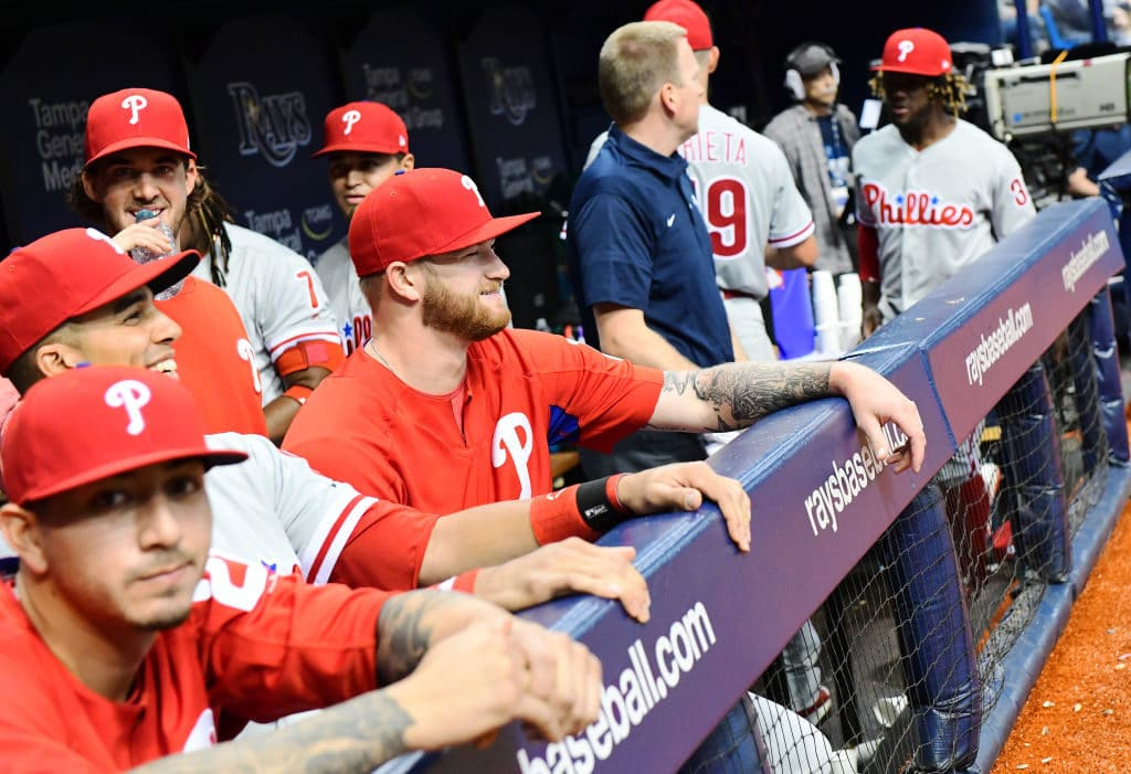 ST PETERSBURG, FL - Philadelphia Phillies players look on during the top of the eighth inning against the Tampa Bay Rays on April 14, 2018 at Tropicana Field in St Petersburg, Florida. (Photo by Julio Aguilar/Getty Images)
