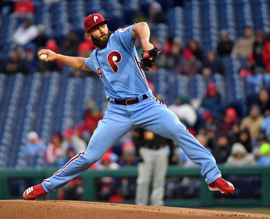 Apr 19, 2018; Philadelphia, PA, USA; Philadelphia Phillies starting pitcher Jake Arrieta (49) throws a pitch during the first inning against the Pittsburgh Pirates at Citizens Bank Park. Mandatory Credit: Eric Hartline-USA TODAY Sports
