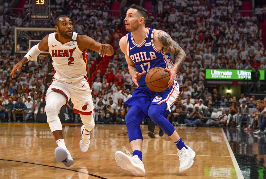 MIAMI, FL - APRIL 21: JJ Redick #17 of the Philadelphia 76ers looks to score in the first quarter against the Miami Heat during Game Four of Round One of the 2018 NBA Playoffs at American Airlines Arena on April 21, 2018 in Miami, Florida. NOTE TO USER: User expressly acknowledges and agrees that, by downloading and or using this photograph, User is consenting to the terms and conditions of the Getty Images License Agreement. (Photo by Mark Brown/Getty Images)
