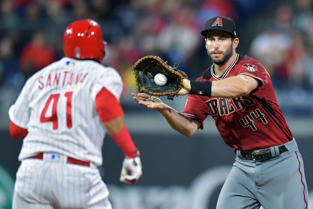 PHILADELPHIA, PA - APRIL 05: Paul Goldschmidt #44 of the Arizona Diamondbacks catches the ball before putting out Carlos Santana #41 of the Philadelphia Phillies on a run down in the third inning at Citizens Bank Park on April 25, 2018 in Philadelphia, Pennsylvania. (Photo by Drew Hallowell/Getty Images)
