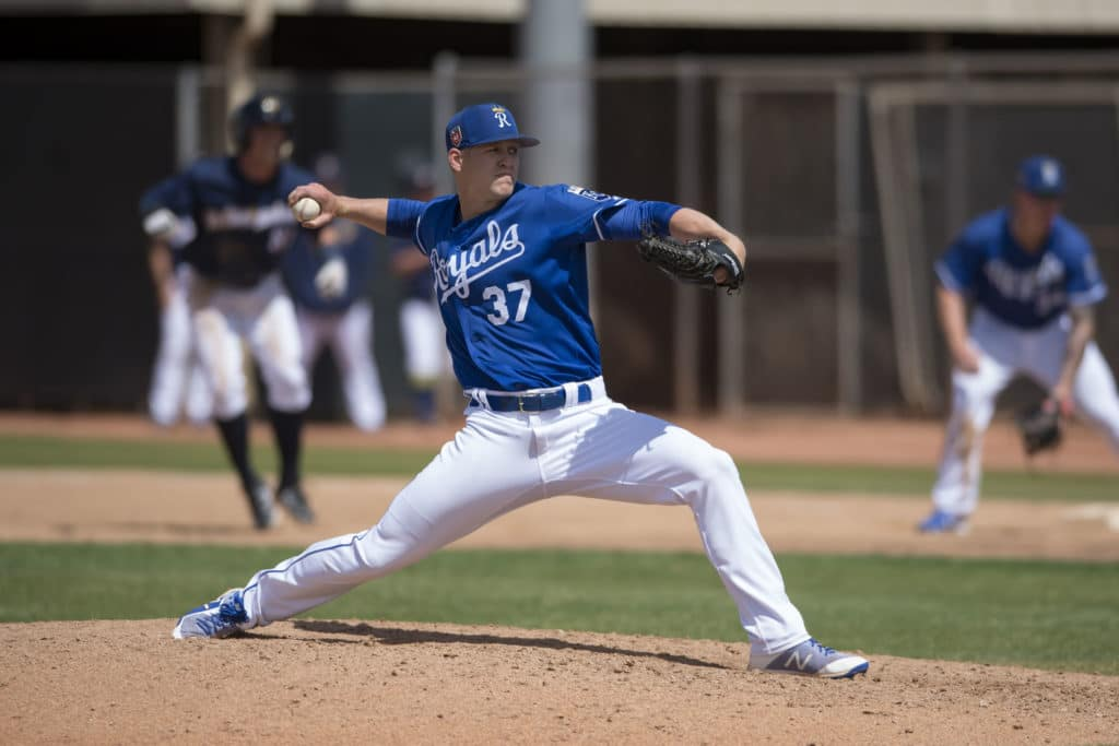 Kansas City Royals relief pitcher Bryan Brickhouse (37) during a Minor League Spring Training game against the Milwaukee Brewers at Maryvale Baseball Park on March 25, 2018 in Phoenix, Arizona. (Zachary Lucy/Four Seam Images via AP Images)