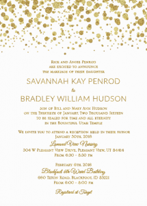 Savannah and Bradley 5x7 front Wedding Invitations