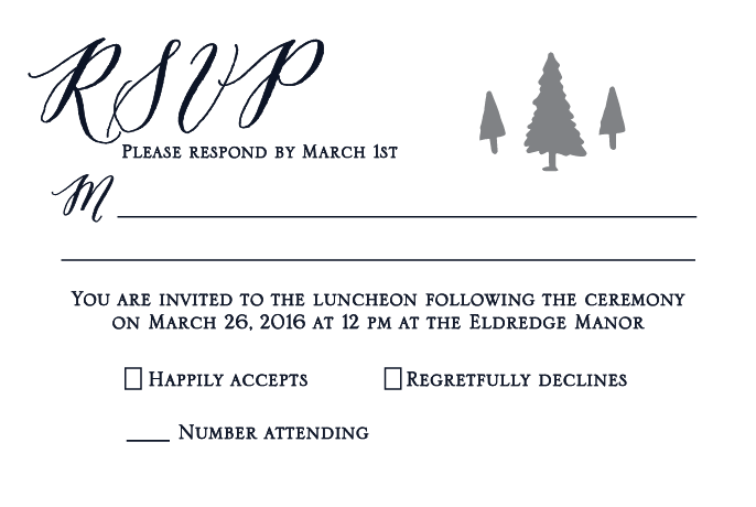 Michelle and Tyler Eldredge RSVP front