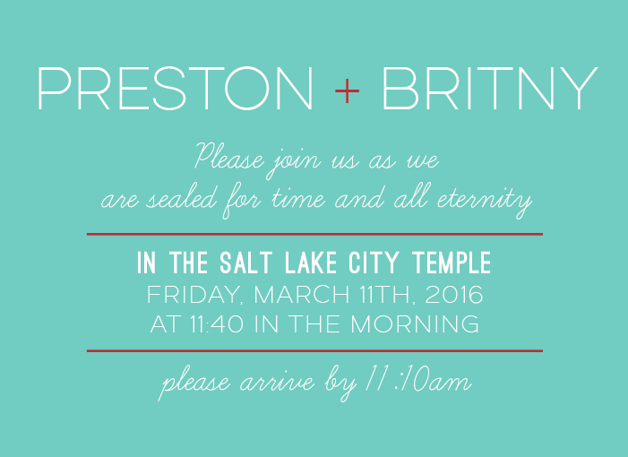 Britny and Preston Insert Front wedding invitations
