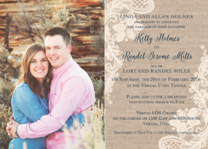 Kelly and Randel Front wedding invitations