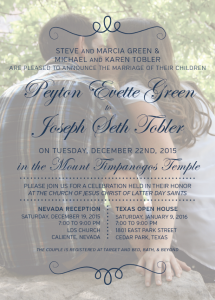 Peyton and Joseph Front Wedding invitations