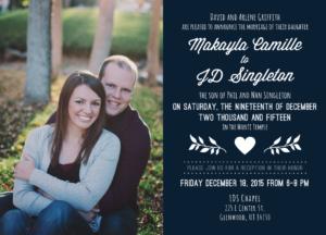 Makayla and JD Front Wedding invitations