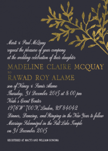 Madeline and Roy 5x7 front wedding invitations