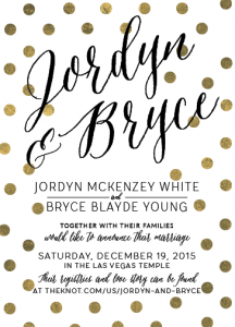 Jordyn and Bryce 5x7 front Wedding Invitations