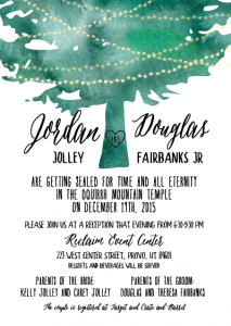 Jordan and Douglas 5x7 front wedding invites
