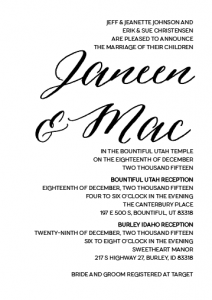 Janeen and Mac 5x7 front wedding invitations