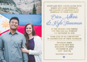 Erica and Kyle 5x7 front Wedding Invitations