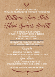 Brittanie and Adam 5x7 front Wedding Invitations