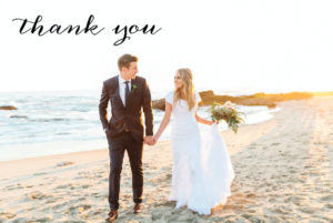 Jacquelyn and David thank you front wedding Invites