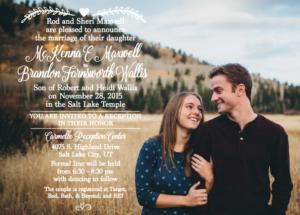 Mackenna and Brandon 5x7 front Wedding Invitations