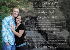 Katelyn and Tyler front Wedding Invitations