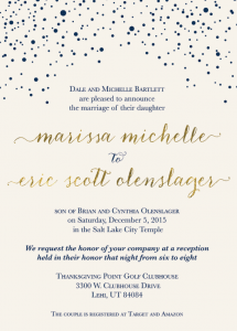 Marissa and Eric Front Wedding Invites