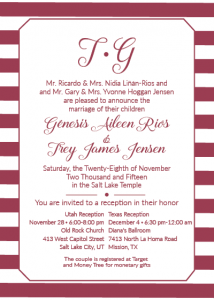 Trey and Genesis 5x7 front wedding invites