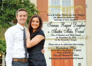Tianna and Austin 5x7 front wedding invitations
