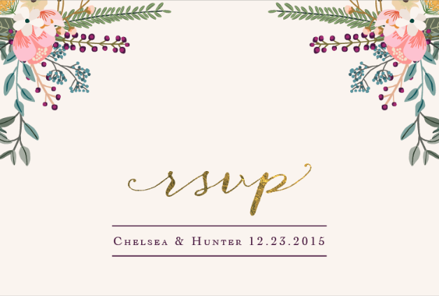 Chelsea and Hunter RSVP Front Wedding Invitations