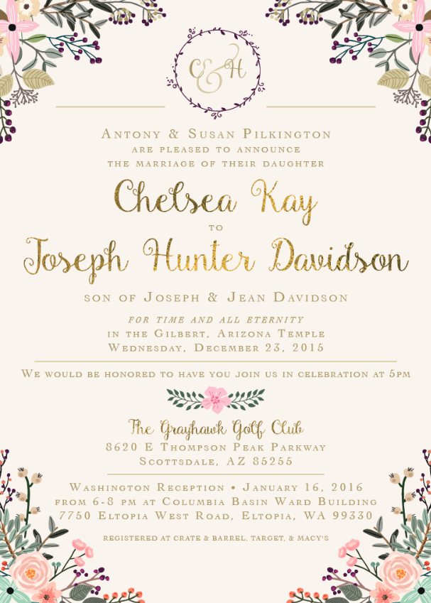 Chelsea and Hunter Front Wedding Invites