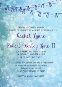 Rachel and Robert front Wedding Invites