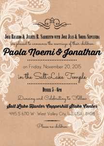 Paola and Jonathan English Front Wedding Invitations