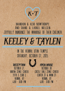 Keeley and Taylen 5x7 front Wedding Invitations