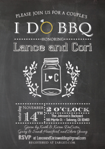 Cori and Lance invite front wedding invites