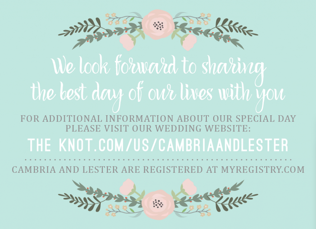 Cambria and Lester Insert Front Wedding Invitations