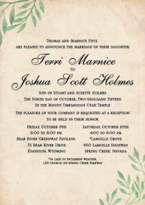 Terri and Joshua Front wedding invites