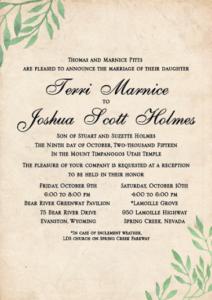 Terri and Joshua Front Wedding Invitations
