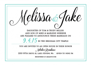 Melissa and Jake Front wedding invites