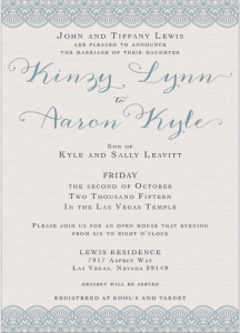 Kinzy and Aaron Front wedding invites