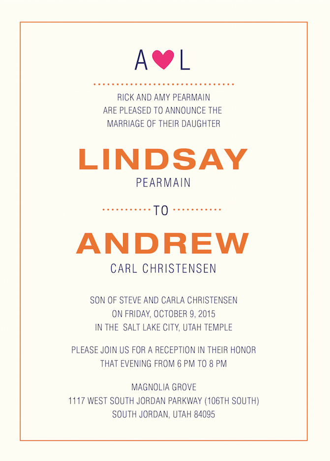Lindsay and Andrew Front Wedding invitations