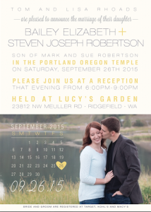 Bailey and Steven Front Wedding Invitations