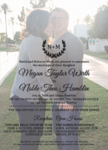 Megan and Noble Front Wedding Invitations