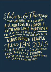 Julene and Thomas Front wedding invitations