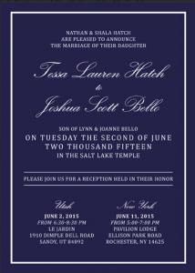 Tessa and Joshua Front Wedding Invitations