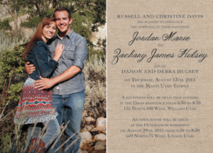 Jordan and Zachary Front Wedding Invitations