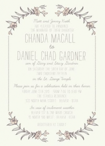 Chanda and Daniel Front Wedding Invitations