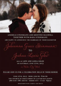 Julieanna and Joshua Front Wedding Announcements
