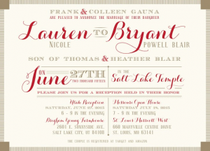 Bryant and Lauren Front Wdding Invitations