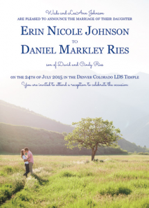 Erin and Daniel Front wedding invitations