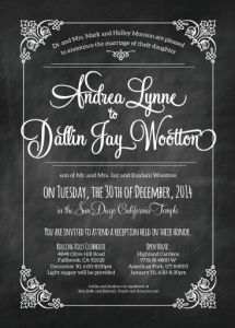 Andrea & Dallin Wedding invites