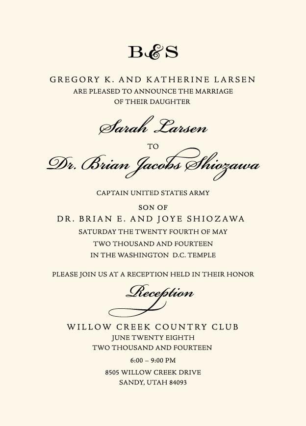 Beautiful Wedding Announcements.Sarah Brian Utah Announcements