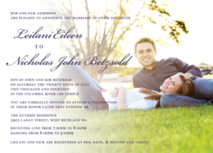 leilani_front Wedding Announcements