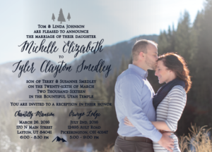 Michelle and Tyler front 5x7 Wedding Invitations